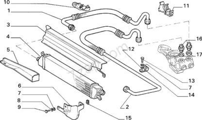 Lancia Delta 4WD steun voor oliekoeler 82440377 nr 6 op tekening