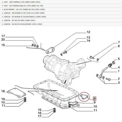 Fiat Tempra - Lancia Dedra - Delta Alfa 155 Tie SX Bridge Front verbindingsstuk Original 82436286 60806947 nr 8 op tekening