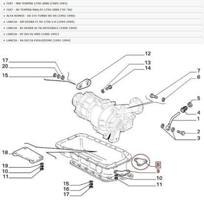 Fiat Tempra - Lancia Dedra - Delta Alfa 155 verbindingsstuk Original 82440138 nr 18 op tekening