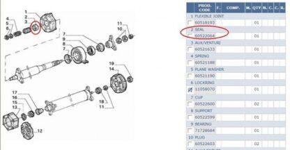 Alfa GTV AlfettaGTV+75+RZSZ Führungshülse Kardan BOCCOLA TRASMISSIONE GTV 60521633, 60521189, 116001519409 zie nummer 3